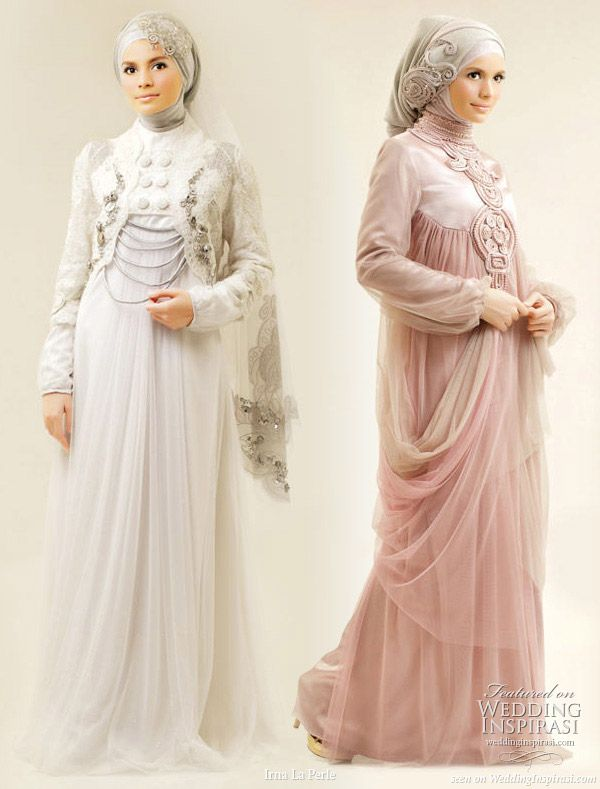 Irna La Perle modest wedding gown and muslimah evening dresses