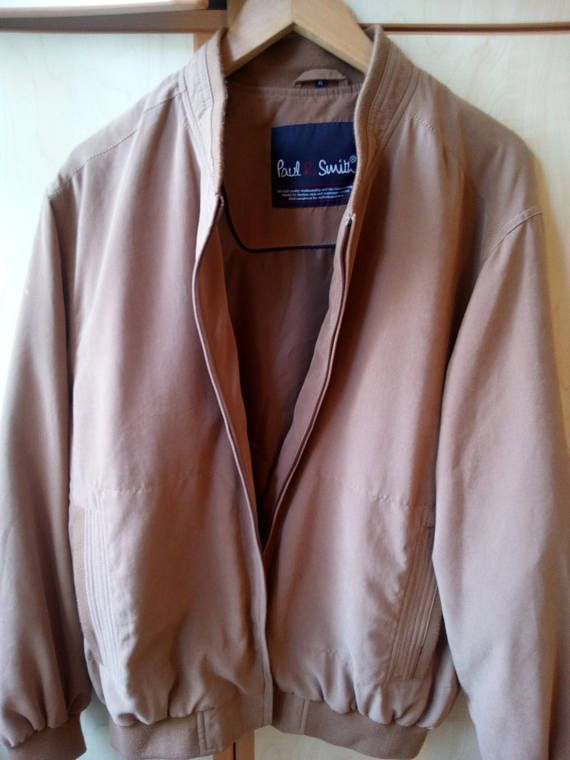 Vintage Paul Smith men's bomber jacket in light brown