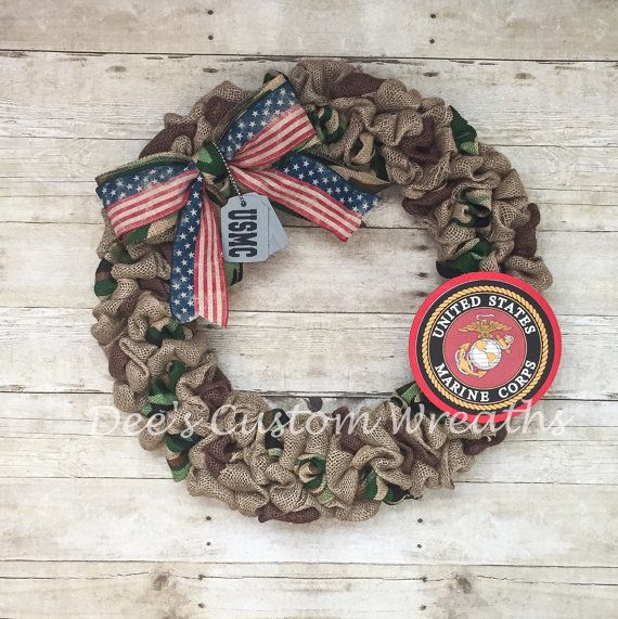 . Handmade Item . Made to order . Materials: 18 wire wreath frame, burlap, wood sign, ribbon . Ships from Long Island, NY  Any branch of the military can be made . Natural burlap and camouflage material throughout a wire frame with a wooden logo ,custom dog tags all with vinyl lettering . anything can be written on dog tags. The measurement of the wreath listed is 18   Can be displayed on front doors as well as interior doors ** Wreath is not intended for direct sunlight.