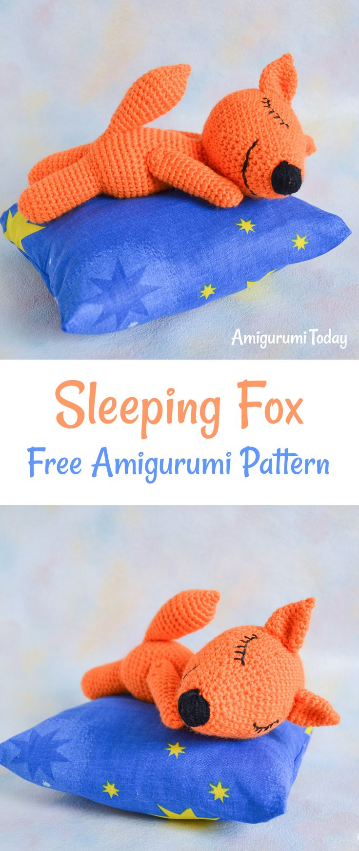 This adorable sleeping fox helps naughty babies to fall asleep and see beautiful dreams :) You can make the toy by your own on the basis of our amigurumi pattern.