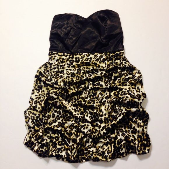 leopard print party dress  Only worn once with no tears or stains ! Studio Y Dresses Strapless