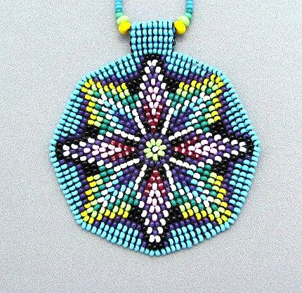 Seed Beaded Mandala Sacred Geometry Necklace by HANWImedicineArt