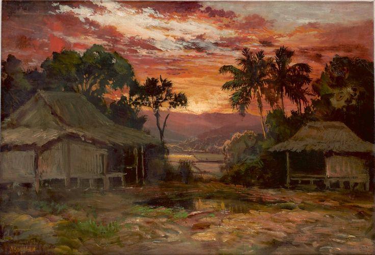 Abdullah Suriosuborto - An Indonesian Village at sunset
