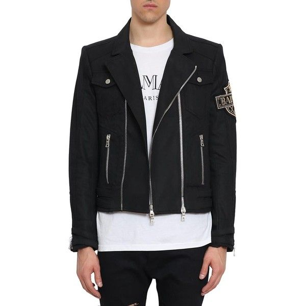 Balmain Embroidered denim Biker jacket ($2,994) ❤ liked on Polyvore featuring outerwear, jackets, black, embroidered jackets, balmain jacket, summer denim jacket, biker jackets and summer motorcycle jacket