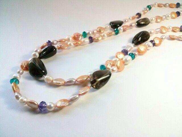 Collares de cuarzo fume con perlas variadas y cristal de roca