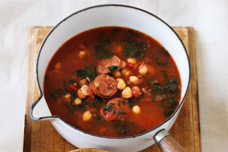 Spanish chorizo and chickpea soup - perfect for tonight's dinner!