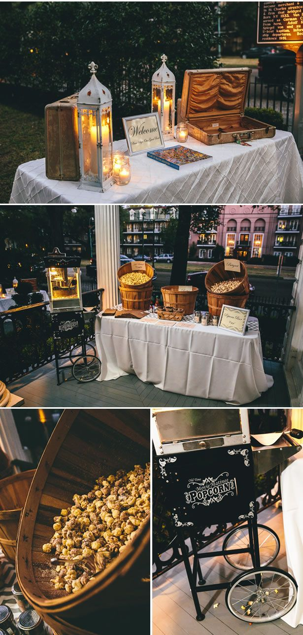 romantic courtyard wedding in new orleans 3, real weddings ideas and trends POPCORN BAR!!