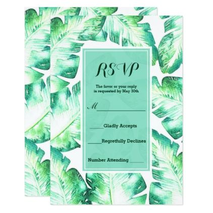 Beachy White & Green Tropical Leaves RSVP Reply Card - engagement gifts ideas diy special unique personalize