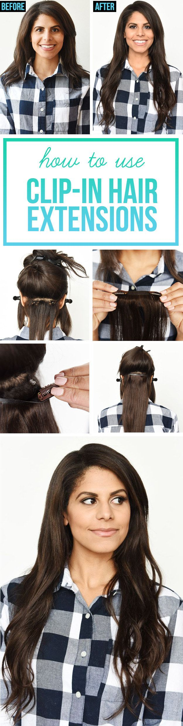 Best instructional on clipping in hair extensions. Love the small elastic method, works so much better than just teasing the root. Nice job ...buzzfeed? This Guide Will Show You Exactly How To Use Clip-In Hair Extensions
