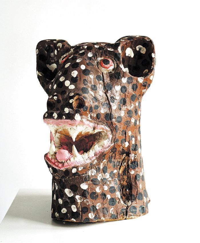 painted wood carving by Phutuma Seoka - Hyena's Head  39 cm