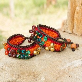 Bold Orange Fortune Multicolor Beads Brass Bells and Good Luck Coins on Pair of Womens Crocheted Wristband Bracelets (Thailand) | Overstock.com Shopping - The Best Deals on Bracelets