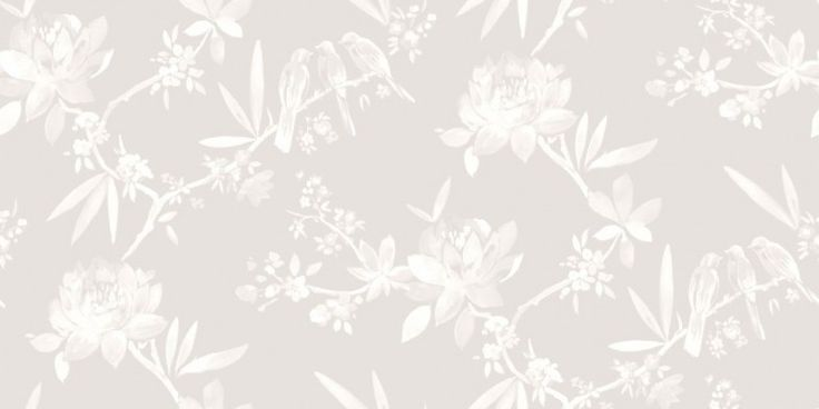 Camille Dove (97861) - Albany Wallpapers - An elegant, all over wallpaper design featuring small birds perched on oriental styled tree's. Shown here in metallic grey and off white. Other colourway are available. Please request a sample for a true colour match. Paste-the-wall product.