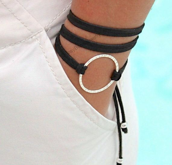 INFINITY Hammered SILVER Circle Wrap Bracelet Adjustable Triple Wrap Micro Faux Suede Cord Custom Pick Color Usa 225