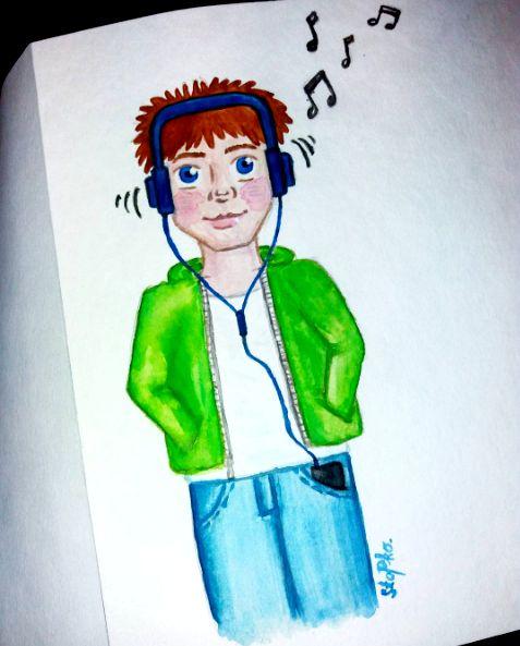 IG: @maggie_creates_  boy listening to music watercolor painting headphones