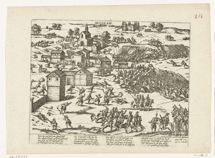 Frans Hogenberg | Slag bij Auneau, 1587, Frans Hogenberg, 1587 - 1589 | Veldslag bij Auneau, 21 november 1587. Op de voorgrond de hertog de Guise. Met onderschrift van 16 regels in het Duits. Ongenummerd. Blad afkomstig uit een album dat uit elkaar is gehaald. Rechtsboven genummerd (in pen): 212.