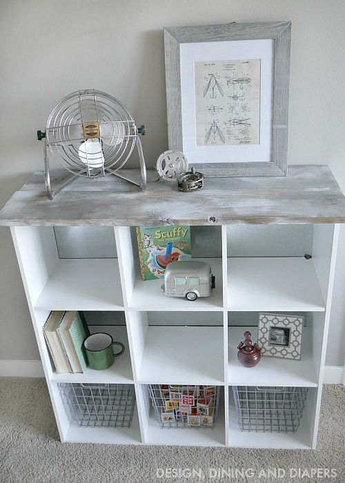 Cube Storage Makeover With Wood On Top
