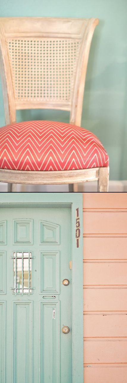 Peach and mint green.