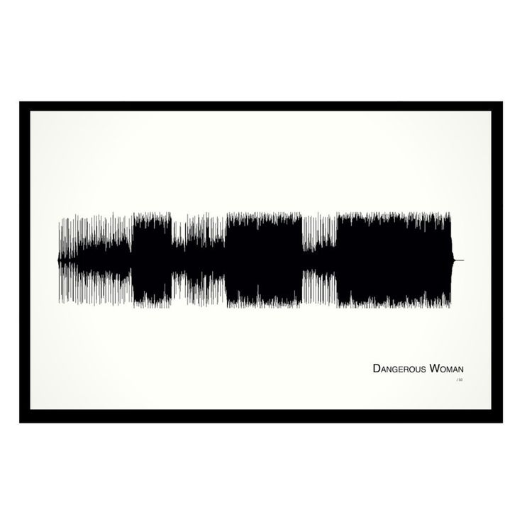 """Dangerous Woman - 11x17 Framed Soundwave print. Ariana Grande inspired Soundwave print Limited quantity is hand-numbered by the artist. Framed and ready-to-hang. 11""""x17"""" custom black wood frame with Museum Glass (filters out 97% of UV rays and eliminates reflection with more clarity than regular glass). This sultry, moody ballad was released as the lead single from Ariana Grande's Dangerous Woman album on March 11, 2016. We hear her singing of reveling in the adrenaline of hooking up with…"""