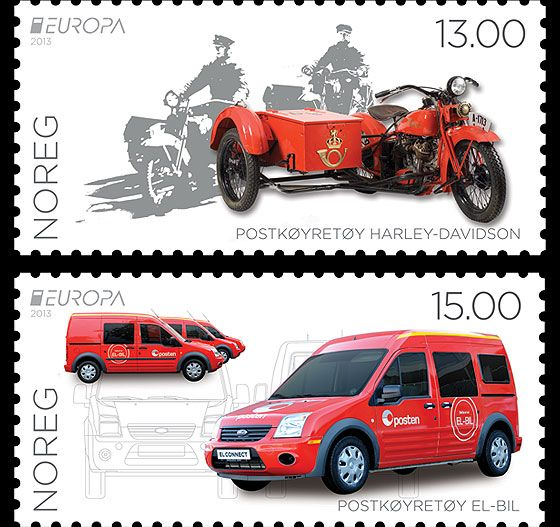 The theme for this stamp issue is Postal Vehicles. The subjects are a 1932 Harley-Davidson (now in the Post Museum in Lillehammer) and a brand new Ford Connect Electric. Issued by the Norwegian Post in 2013. #stamps #norway #cars  http://www.wopa-stamps.com/index.php?controller=countryaction=stampRelatedIssueid=10784