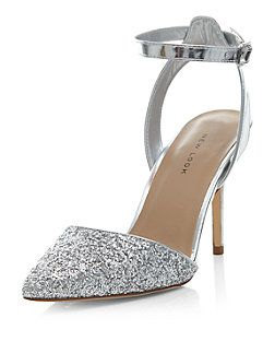 Silver Glitter Two Part Pointed Heels  | New Look