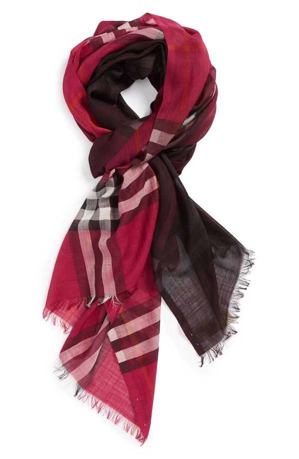 Nice! Love the ombré check print on this wool and silk Burberry scarf.