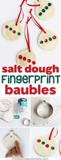 These salt dough fingerprint Christmas ornaments are so cute!  Fun craft idea for kids to help make!