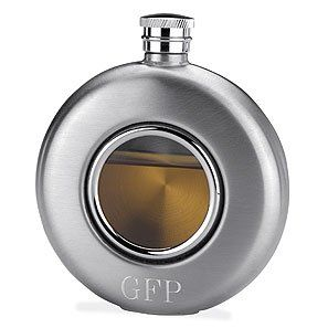 Glass Front Whiskey Flask - Personalized Afforable Unique Bridesmaid or Groomsman Wedding Gift