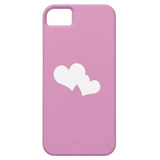 Pink background with white hearts iPhone SE/5/5s case
