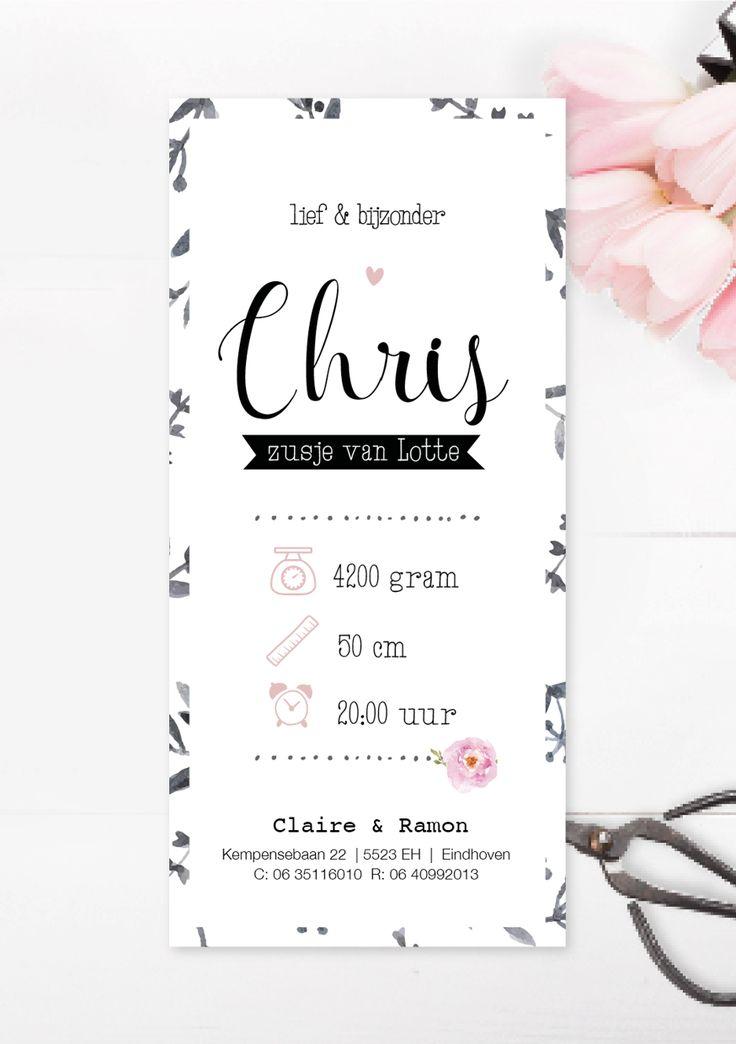 Stoer meisjes geboortekaartje met waterverf en bloemenprint / hip / origineel / design www.charlyfine.nl
