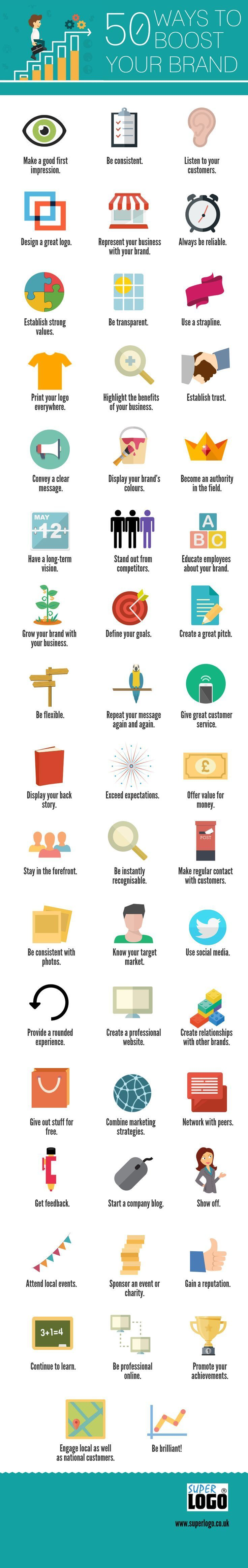 50 Ways to Boost Your Brand [Infographic] | Digital Marketing AND Take this Free Full Lenght Video Training on HOW to Start an Online Business