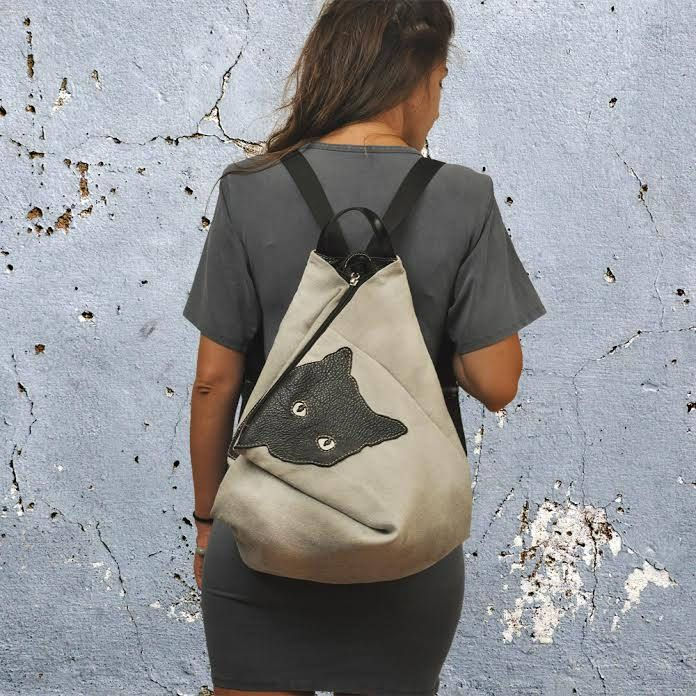 Handmade canvas -leather backpack,MINOUCHE in light grey by iyiamihandbags on Etsy