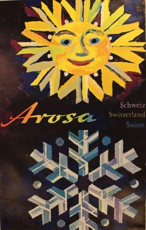 Arosa - Switzerland - Skiing, 1960s - original vintage poster by Wolfgang Hausamann listed on AntikBar.co.uk