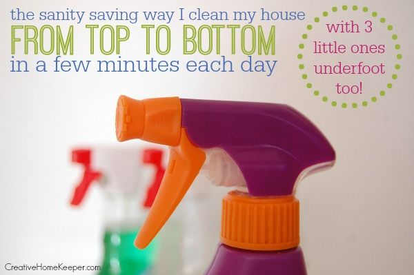 How I save time and my sanity by using a simple checklist to clean my house from top to bottom in a few minutes every single day. No more deep cleaning days!