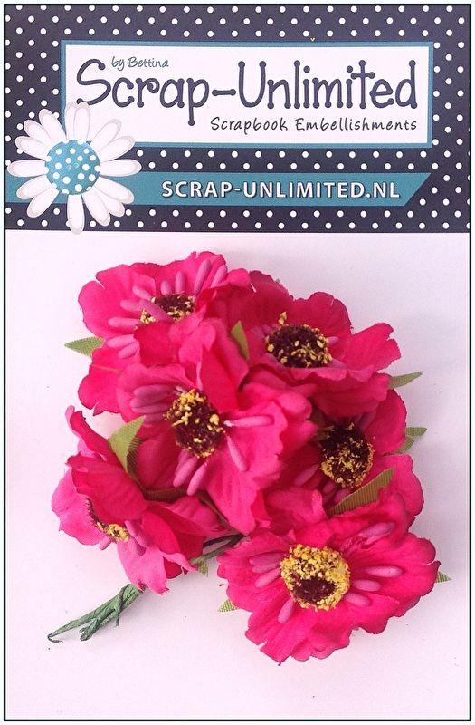 6 Bloemen roze