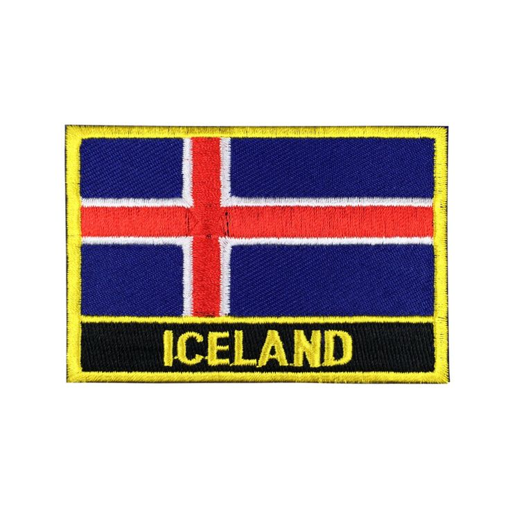 Iceland Flag Patch Embroidered Patch Gold Border Iron On patch Sew on Patch Bag Patchmeet you on Fleckenworld.com