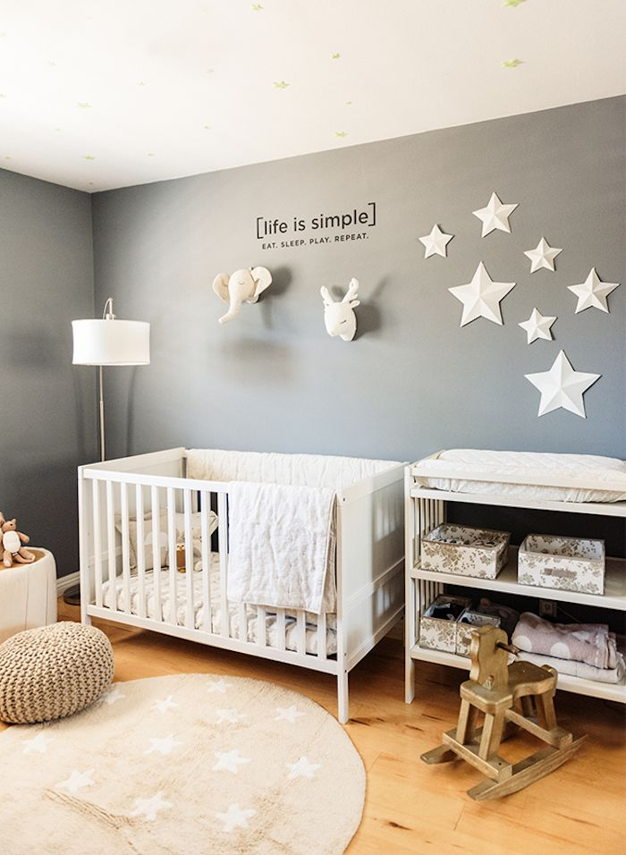 Star Motifs On Gray Wall Decorated With Black Text And Elephant And Deer Plush Heads Near Whit Girl Nursery Themes Grey Baby Nursery Nursery Ideas Girl Pink