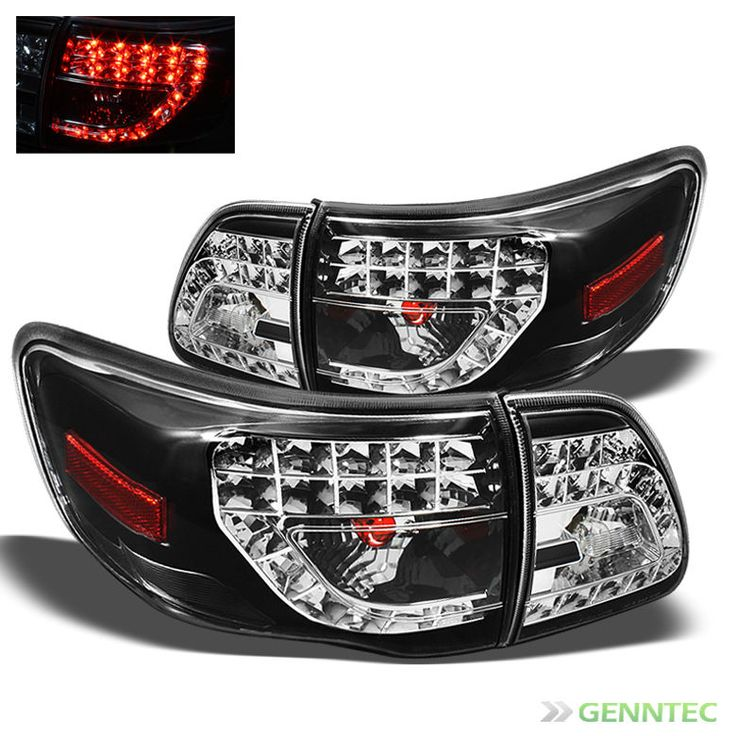 For 2009-2010 Toyota Corolla LED Black Tail Lights Rear Brake Lamp Pair New Set