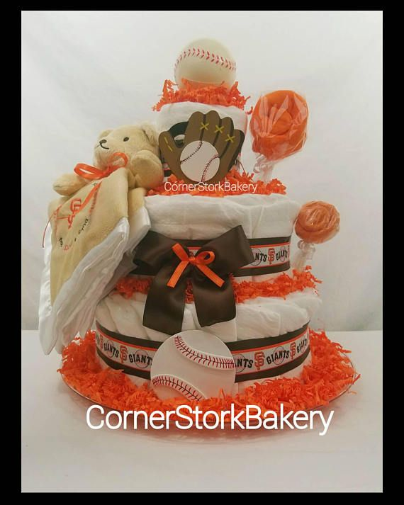 Check out this item in my Etsy shop https://www.etsy.com/listing/535387596/sf-giants-inspired-baseball-diaper-cake