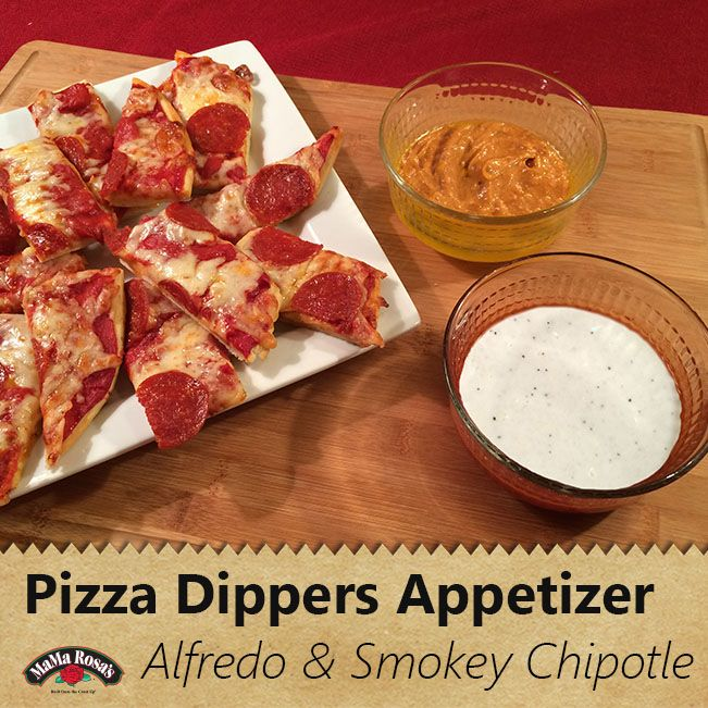 Quick, easy and just a little bit of flare for any occasion. Cut your favorite MaMa Rosa's pizza into strips and serve with some dipping sauces - three cheese alfredo and smokey chipotle