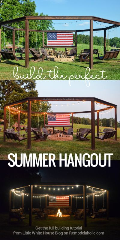 DIY Pergola w/ Fire Pit, Swings, Chairs, and Wood Storage: Remodelaholic