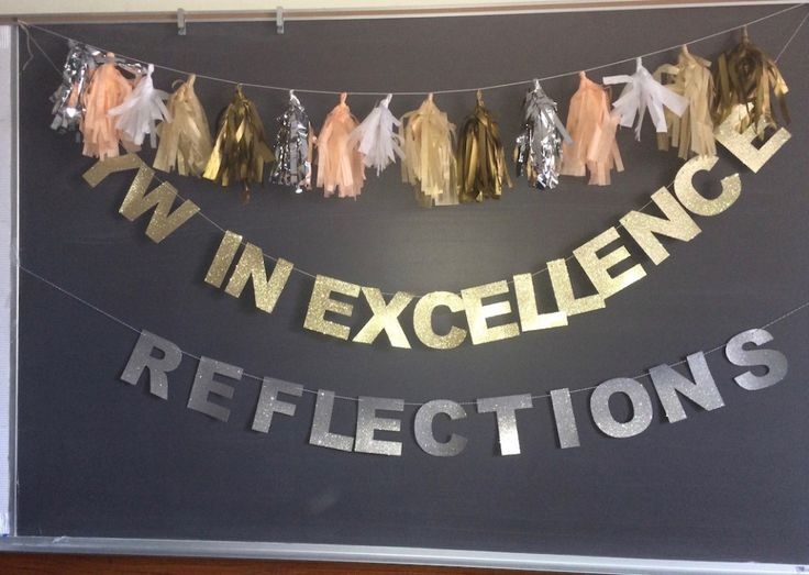 tassel banner Young Women in Excellence - pin is misdirected