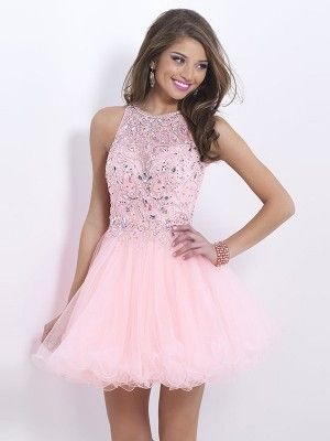 A Line Princess Sleeveless High Neck Short Mini Tulle Ruffles Dresses Homecoming