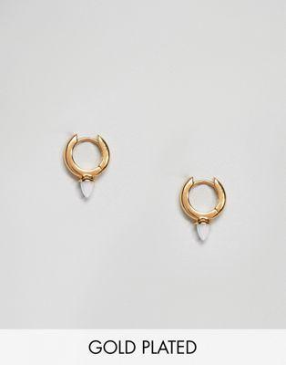 b0c9f371e Orelia gold plated pave huggie hoop with opal spike Opal, Hoop, Plating,  Fashion