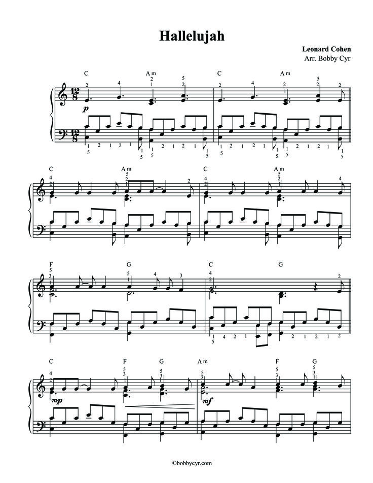 Hallelujah page 1. Arr. Bobby Cyr