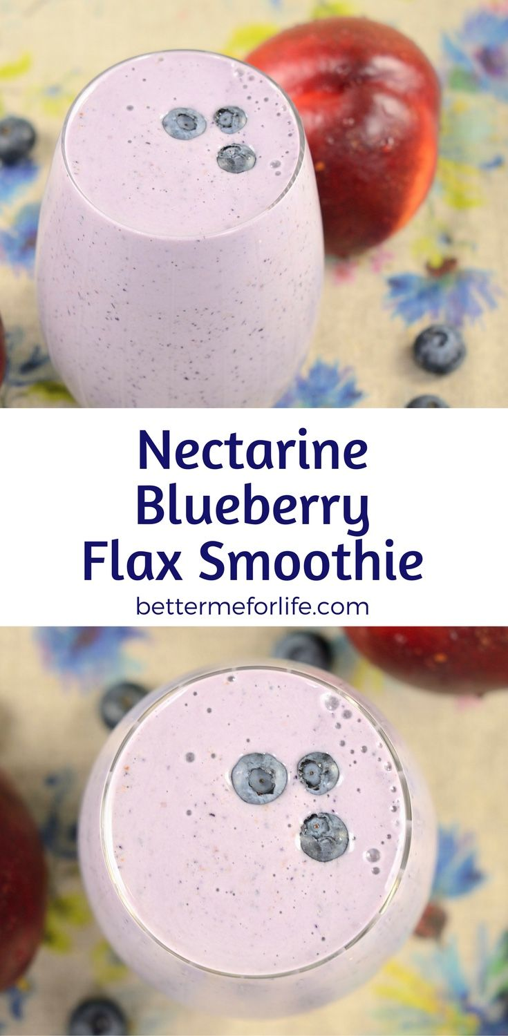 This nectarine blueberry flax smoothie is low in calories and high in fiber - making it the perfect weight loss smoothie. Find the recipe on BetterMeforLife.com