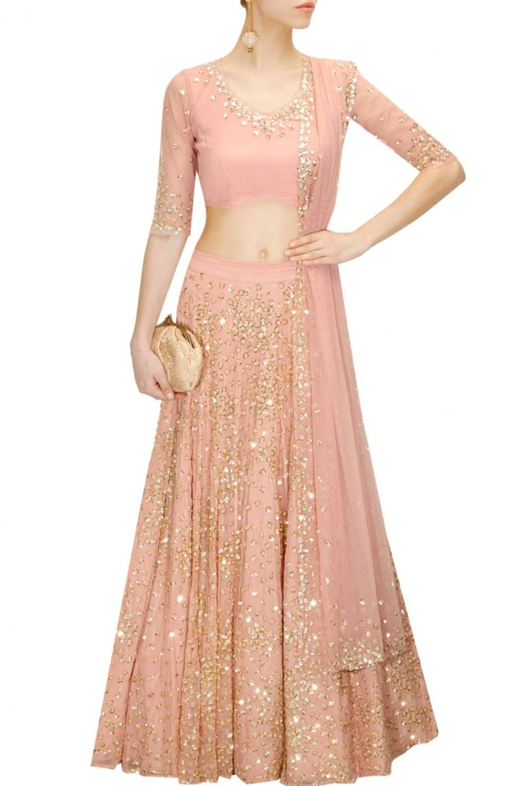 ASTHA NARANG Peach sequins and beads embroidered lehenga set available only at Pernia's Pop-Up Shop.