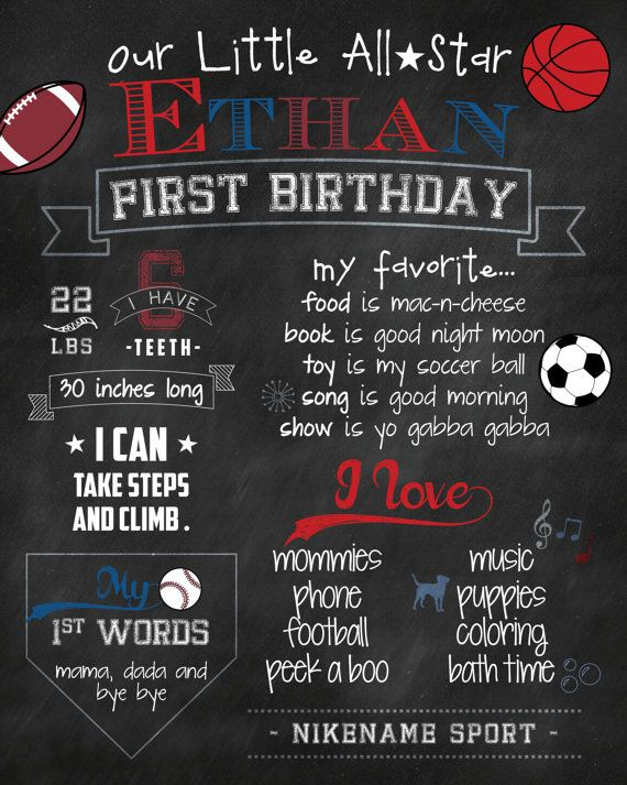 All Star Sports First Boy Birthday Chalkboard by jessicasinvites