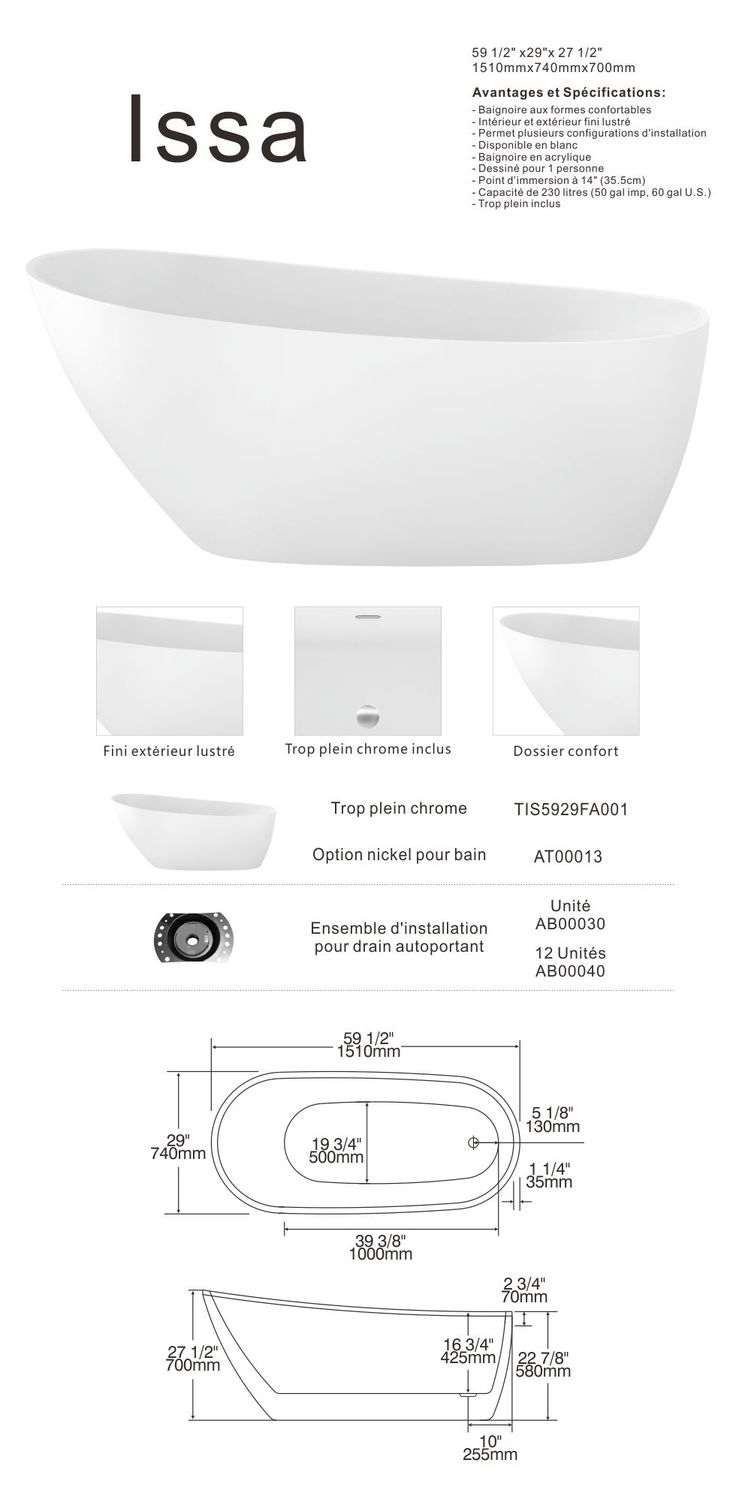 Island tub drain acri tec bath and kitchen products - Room Vienna Freestanding Acrylic Bathtub