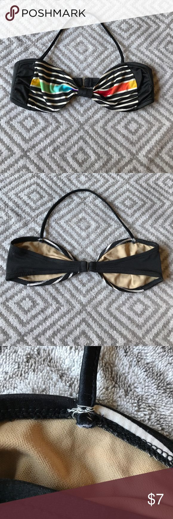 Vintage 80s Bandeau Bikini Top!! Cute vintage bikini top!! The straps have been shortened and reinforced (shown in photos), so I priced it cheap- but the straps seem really secure:).  Strap length is 15-17 inches (stretchy material), so maybe measure with a string to see if this length will work for you. So maybe this would fit petite sizes best? Fits 34-36 A or B. Just the bikini top, no bottom Vintage Swim Bikinis