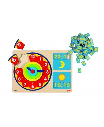 Goki Learn to tell the time is a superb clock puzzle that will help teach your kids to count from 1 to 12 as well as tell the time in 12 to 24 hours format. Turn the hands and let them fill in the spaces with the number pieces.